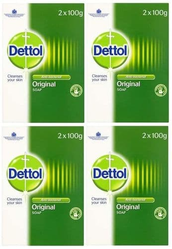 Dettol Bar Soap 100g Twin Pack x 4 Packs (8 bars in total)
