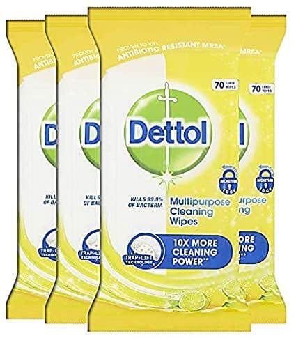 Dettol Cleaning Wipes Multipurpose Cleansing Antibacterial Disinfectant, Citrus Fragrance, Multipack