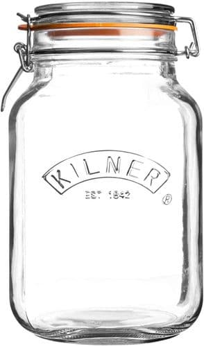 Kilner 0025.512 Square Glass Top Jar with Rubber Seal and Stainless Steel Clip, Transparent
