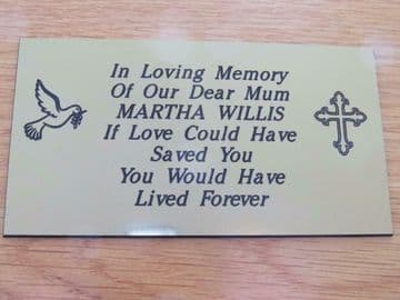 Personalised Engraved Memorial or Celebration Plaque Various Sizes. with a Dove and Cross