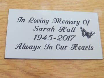 Personalised Engraved Memorial or Celebration Plaque Various Sizes.- With Butterfly