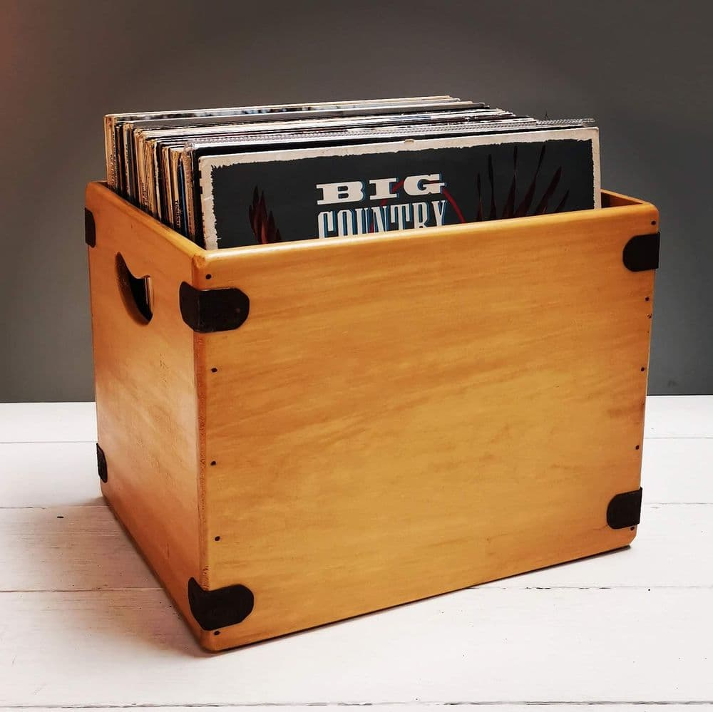 """12"""" Handcrafted Album Box """"355 Digger"""" Natural Record Crate"""