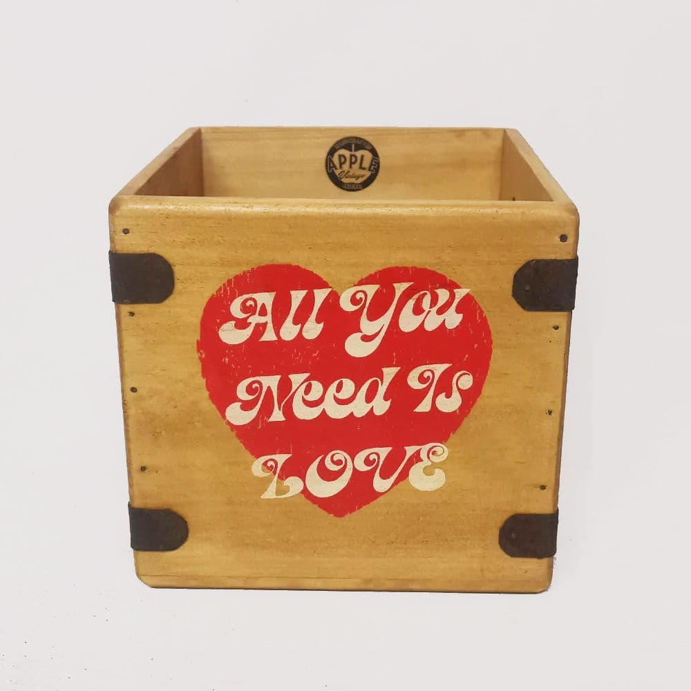 "All You Need Is Love  7"" Record Box Vintage Vinyl Crate"