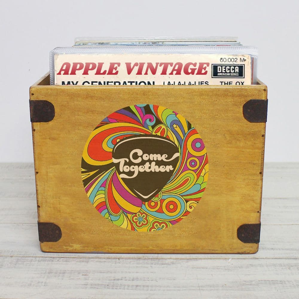 """Come Together Record Box  Large 80 12"""" LP's Wooden Vinyl Album Crate"""