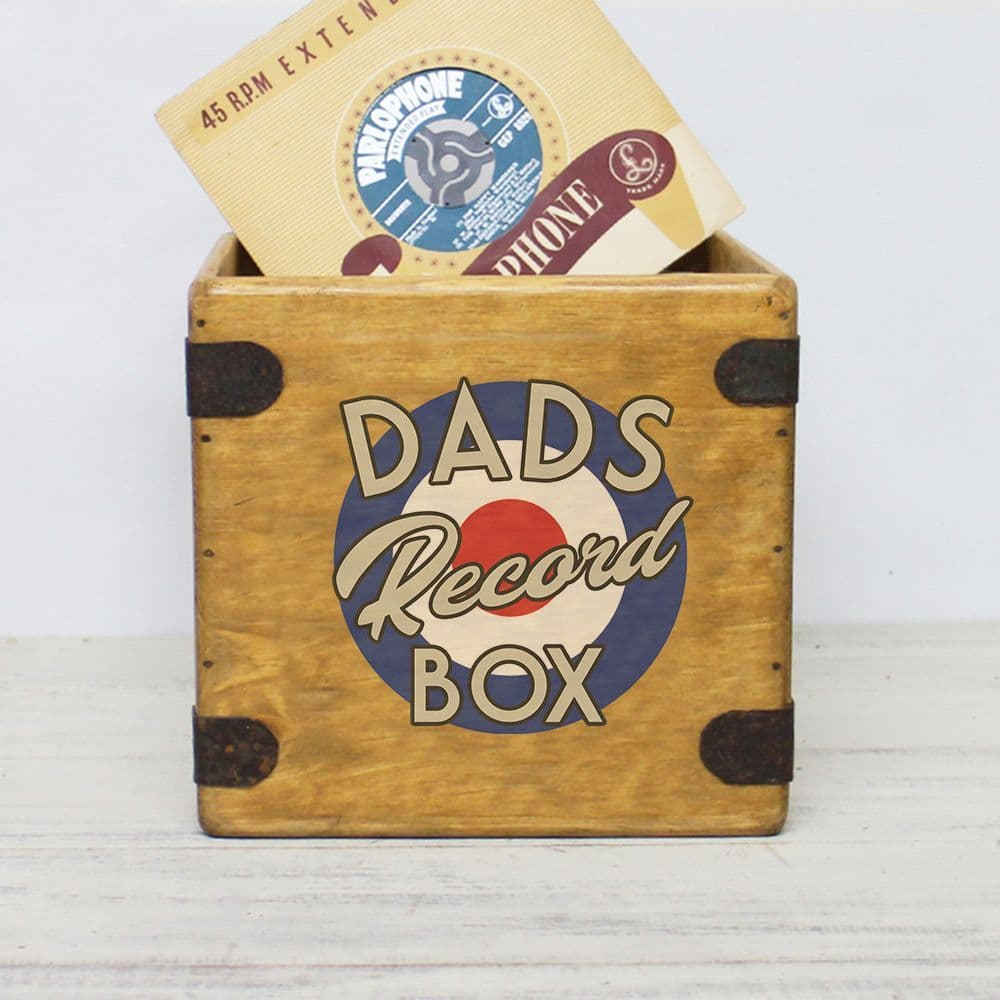 "Dad's  Record Box 7"" Singles Vintage Vinyl Crate"