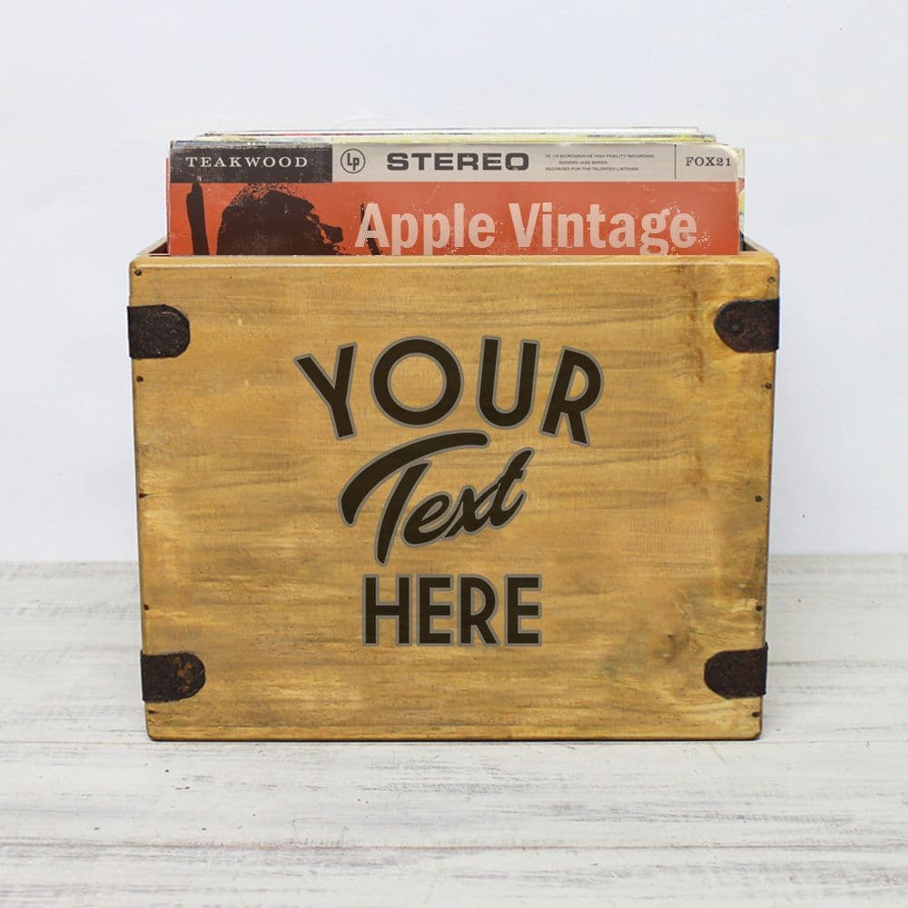 Personalised Text Record Box Handcrafted Album Crate