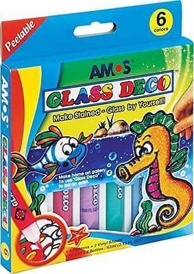 Amos Glass Deco Stained Glass Window Kit 6 Colours