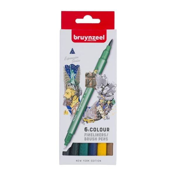 Bruynzeel 6 Colour Fineliners/Brushpens
