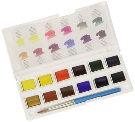 Daler Rowney Aquafine Watercolour Pocket Box Set 12 Half Pans and Brush