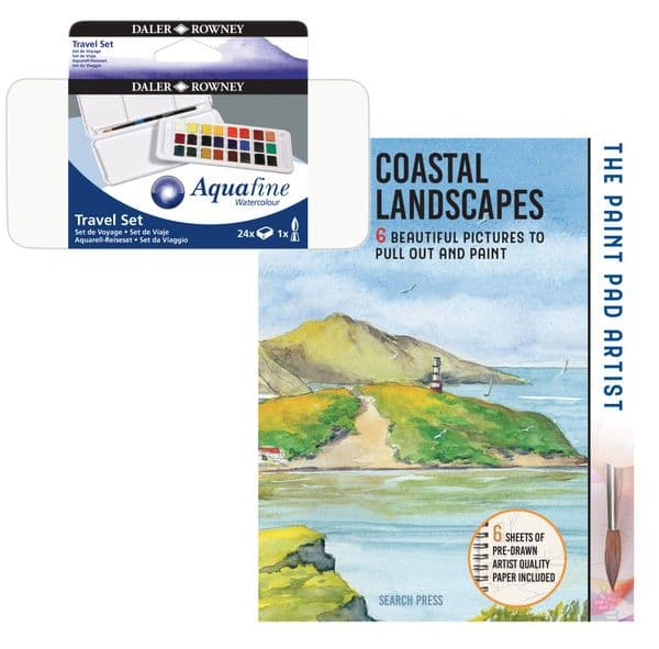 Daler Rowney Aquafine Watercolour Travel Set with Free Charles Evans Book
