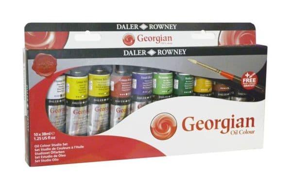 Daler Rowney Georgian Oil Colour Studio Set of 10 x 37ml with FREE BRUSH
