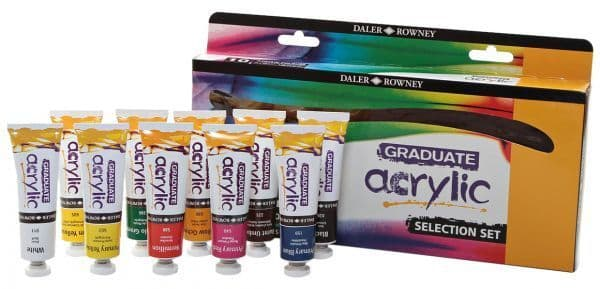 Daler Rowney Graduate Acrylic Paint Set of 10 x 38ml Colours