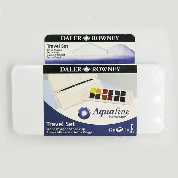 Daler Rowney Mini Aquafine Watercolour Travel Set 12 half pans