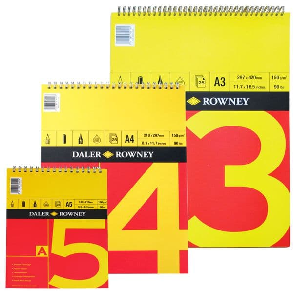 Daler Rowney Red & Yellow Spiral Drawing Paper Pad