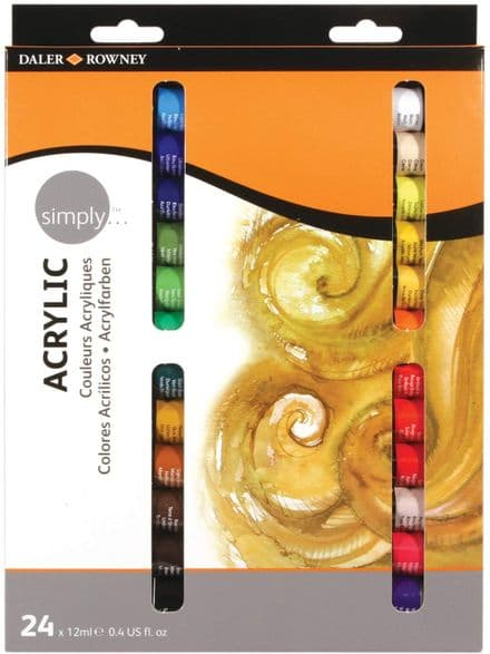 Daler Rowney Simply Acrylic Set of 24 x 12ml Tubes