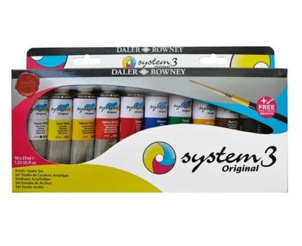 Daler Rowney System 3 Original Acrylic Studio Set of 10 x 37ml with FREE BRUSH