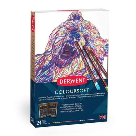 Derwent Coloursoft Pencil Wooden Box Set of 24