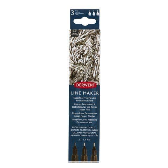 Derwent  Line Maker Set of 3 Black Pens