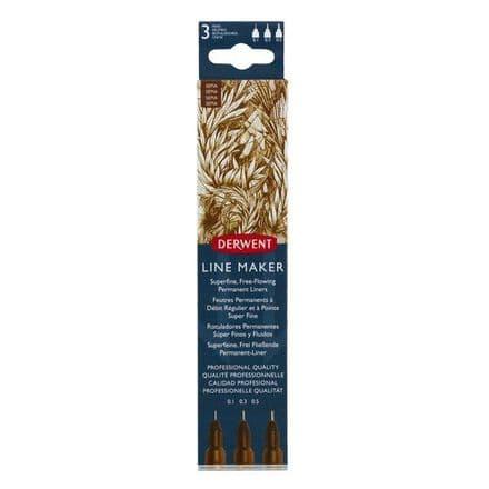 Derwent  Line Maker Set of 3 Sepia Pens