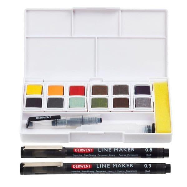 Derwent Line & Wash Paint Pan Set