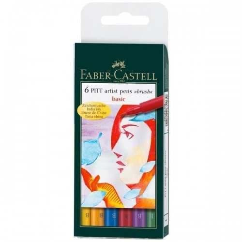 Faber Castell PITT Artist Pen Brush Wallet of 6 Basic Colours