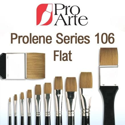 Pro Arte Watercolour One Stroke Paint Brushes Prolene Series 106: Flat