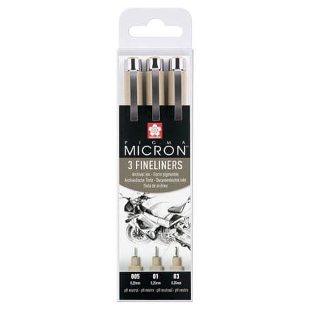 Sakura  Pigma Micron Design Set 3 fineliners 005 0.2 mm,  01 0.25 mm, 03 0.35 mm