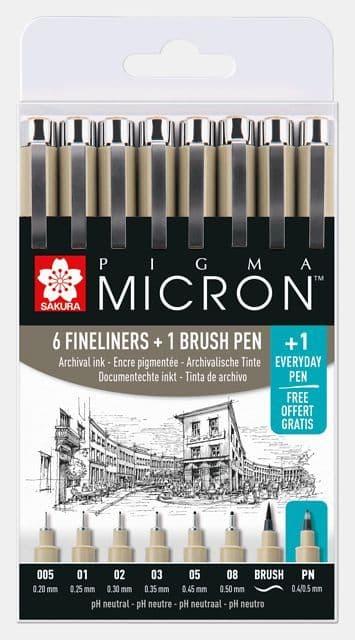 Sakura Pigma Micron Fineliner 7 Pen Set  (plus one free)