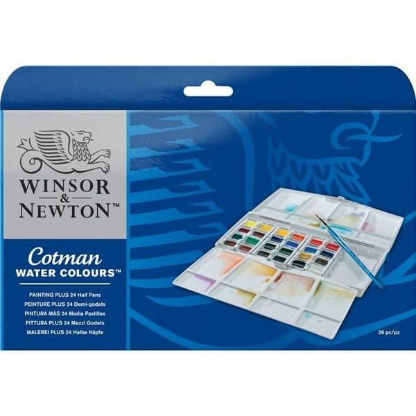 Winsor & Newton Cotman Watercolour 24 Half Pan Painting Plus Set