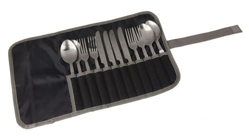 4 Person Camping Cutlery Set Stainless Steel Black Seal Grey
