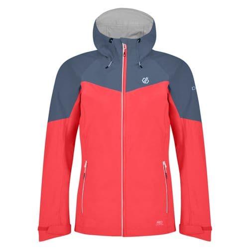 Dare2b Women's Reconfine Lightweight Hooded Waterproof Jacket Fiery Coral Meteor Grey