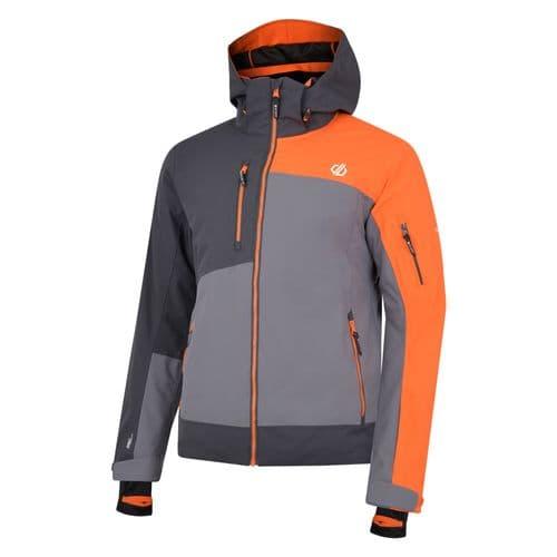 Men's Travail Pro Ski Jacket Aluminium Grey Ebony Clementine
