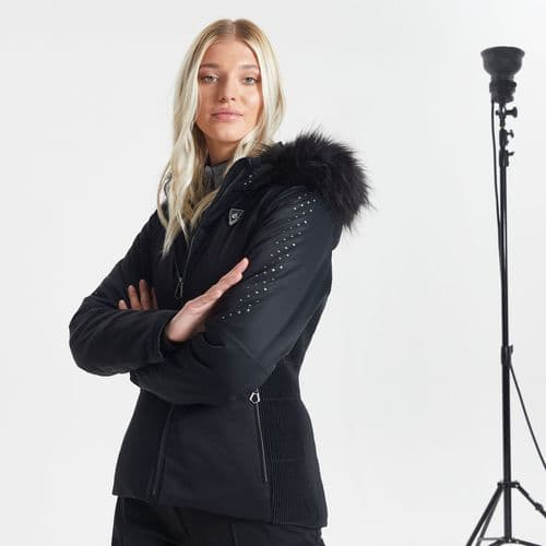 Swarovski Embellished - Women's Bejewel Waterproof Insulated Fur Trim Hooded Luxe Ski Jacket Black