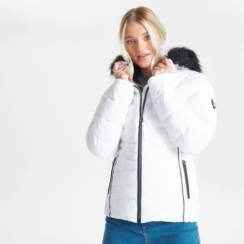 Swarovski Embellished - Women's Glamorize II Waterproof Insulated Fur Trim Luxe Ski Jacket White