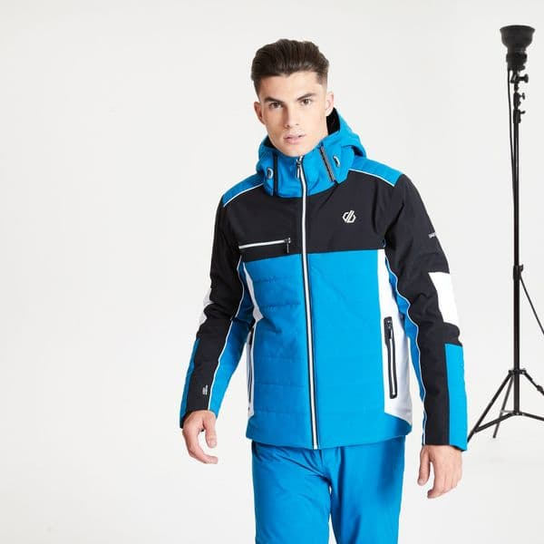 The Jenson Button Edit - Out Force Black Label Insulated Hooded Ski Jacket Petrol Blue Black