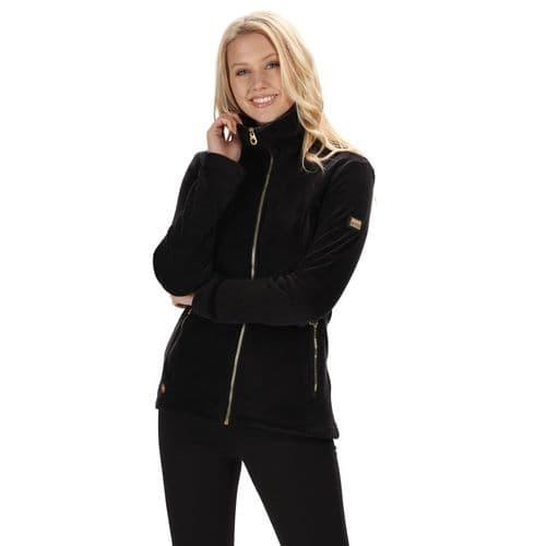 Women's Halona Velour Full Zip Fleece Black