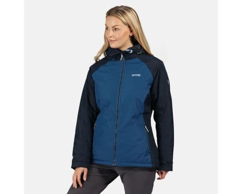 Women's Voltera Protect Waterproof Insulated Hooded Heated Walking Jacket Blue Opal Navy