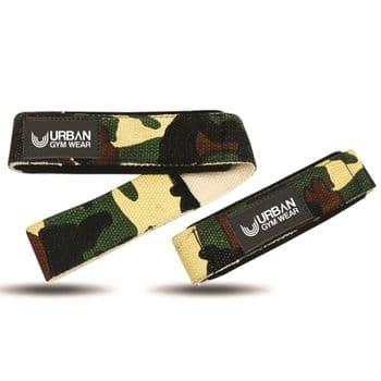 Urban Gym Wear Padded Lifting Straps - Woodland Camo