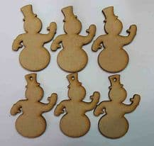Wooden mdf snowman craft shapes tags tree decor 6 PACK 3mm Thick