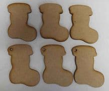 Wooden mdf xmas boot stocking craft shapes tags tree decor 6 PACK 3mm Thick