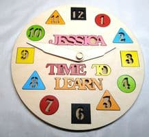 personalised Children's clock learning name puzzle up to 8 letters educational
