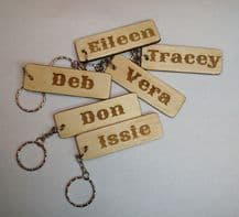 personalised wooden key ring laser engraved with your name