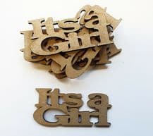 wooden craft ITS A GIRL  shapes, laser cut 3mm mdf embellishments