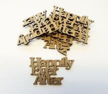 wooden HAPPILY EVER AFTER craft  shapes, laser cut 3mm mdf embellishments