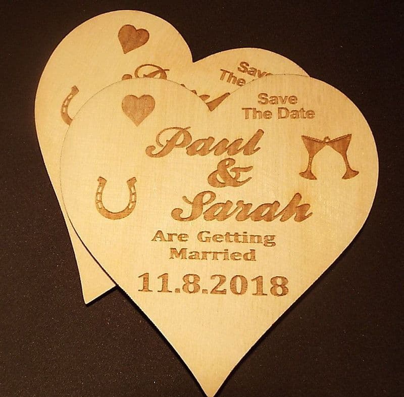Wooden Save The Date Wedding Magnets Heart shaped