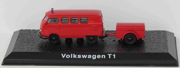 ATLAS DeAgostini LZ06 1/72 Scale Volkswagen T1  German Fire Brigade Van & Trailer