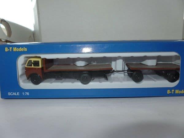 B T Models A013B A013 Foden DG Flatbed Drawbar Trailer Chocolate & Cream GWR