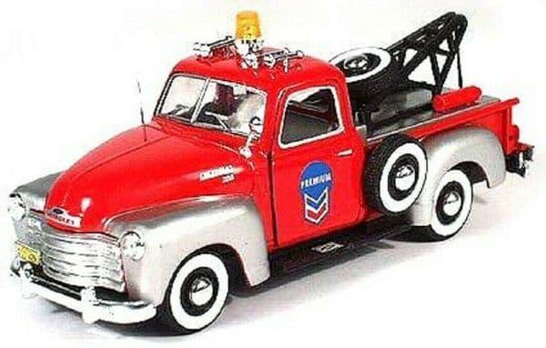 Cararama 1/43 O Scale Chevrolet C3100 Breakdown Recovery tow truck Silver red Chevron