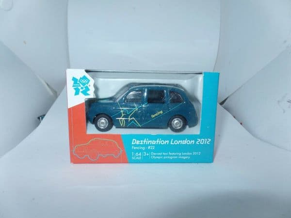 Corgi 2012 Destination London Olympics Taxi Cab Taxicab TX4 Fencing Green