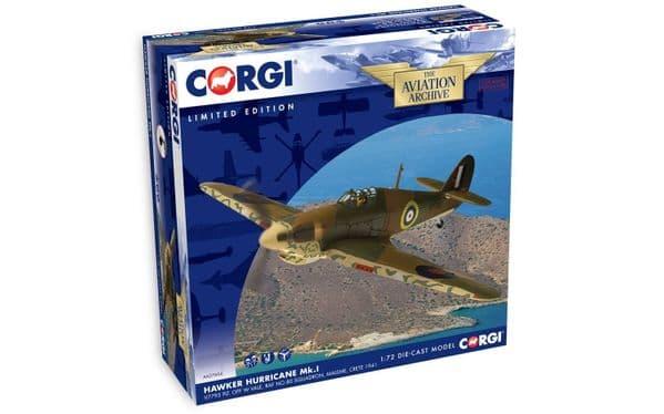 CORGI AA27604 - 1/72 HAWKER HURRICANE MKI V7795 PLT OFF WILLIAM VALE RAF 80 SQN CRETE, 1941